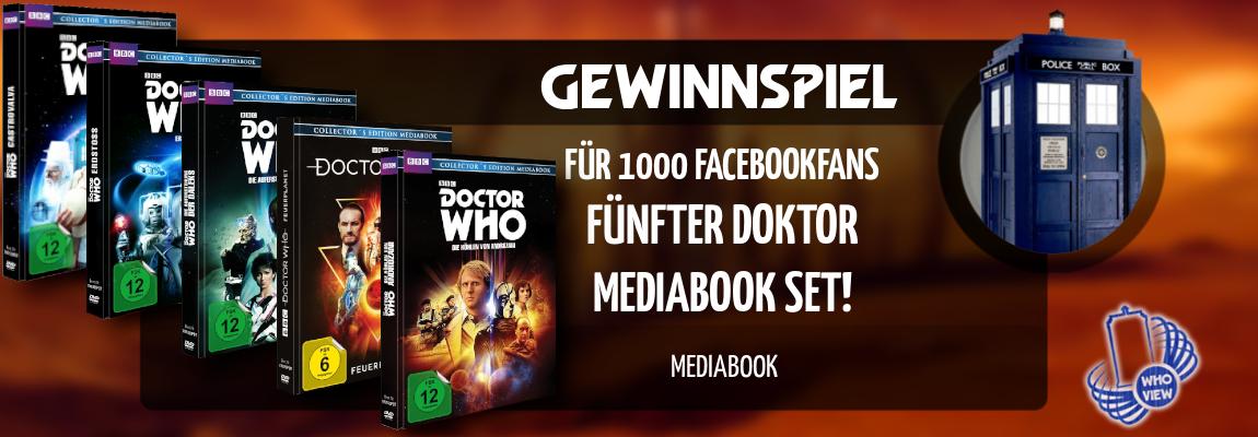 Gewinnspiel | Für 1000 Facebookfans | Fünfter Doktor Mediabook Set